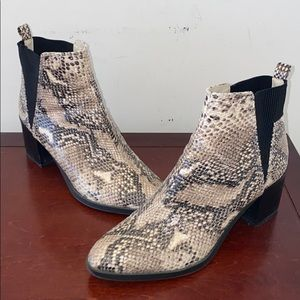 Nine West snakeskin print booties